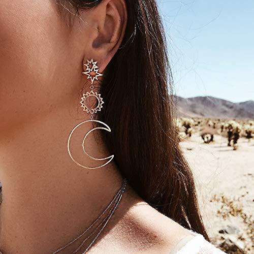 weijij Earrings for Women Girls Fashion Bohemia Star Sun Moon Hollow Earrings Metal Alloy Vintage Geometric Hollow Out Earrings Cheap Clearance Sale Jewelry Ear Stud Ornaments (94, Gold)
