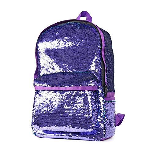 Amily Mini Bling Sequin Backpack Bling Paillette Glitter School Backpack Shoulder Handbags (Large Purple)