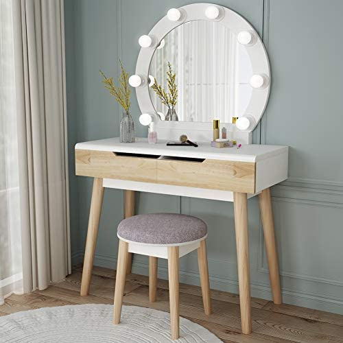 Tribesigns Vanity Set with Round Lighted Mirror, Wood Makeup Vanity Dressing Table Dresser Desk with 2 Drawers and Cushioned Stool for Bedroom White