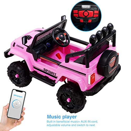 Uenjoy Electric Kids Ride On Cars 12V Battery Motorized Vehicles W/ Wheels Suspension, Remote Control, Music& Story Playing, Colorful Lights, Sunshine Model, Pink by Uenjoy (Image #4)