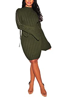 986961c3a51 sexycherry Women s Turtleneck Knit Long Sleeve Bandage Hollow Elasticity  Stretchable Sweater Dresses