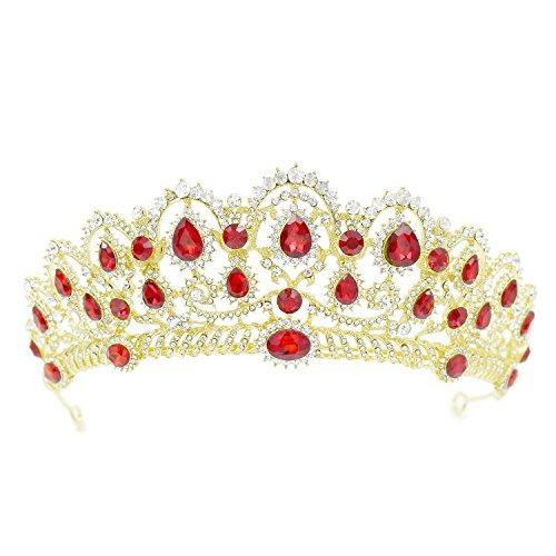 CamingHG Crystal Bridal Hair Accessories Pageant Tiara Crown Rhinestone Bride Prom (Gold-red)