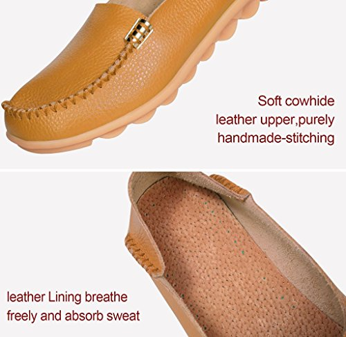 Moccasin Leather Shoes Yellow 4 Driving Labato Casual Cowhide Women's Loafers Flat Driving EqzFT84w