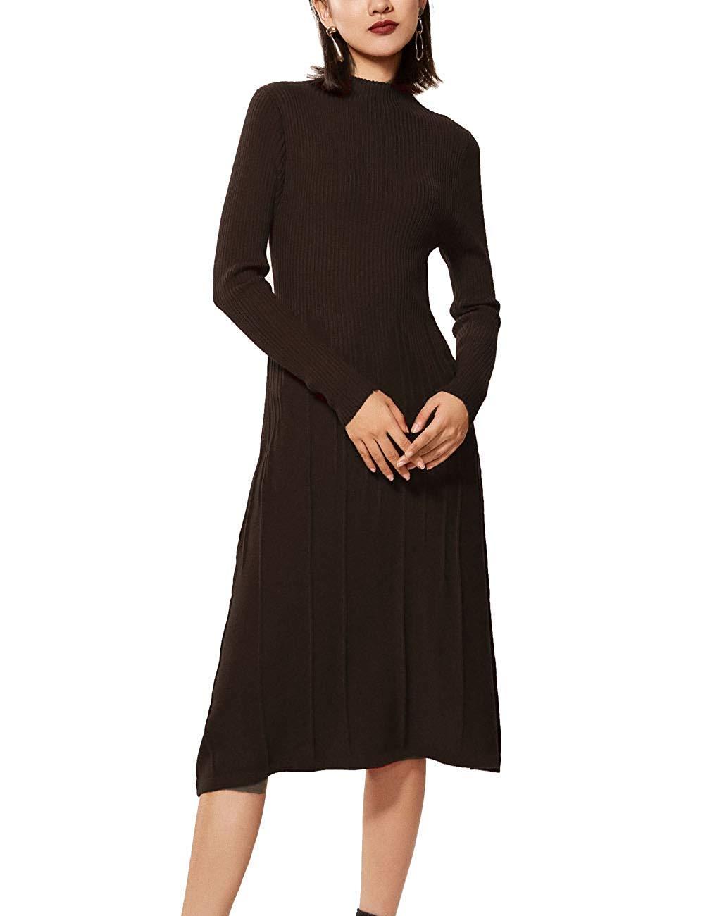545008b60c7 RanRui Womens Winter Spring Dresses Sweater Dress Cashmere Long Sleeve  Elegant midi Dress (M