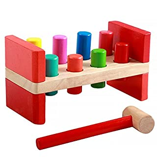 Toyssa First Pounding Bench Peg Wooden Toy with Mallet Early Educational Games for Toddlers Kids (Red)
