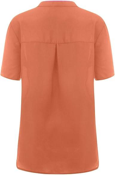 SEWORLD Camiseta de Mujer Blusa de Manga Corta con Cuello en ...