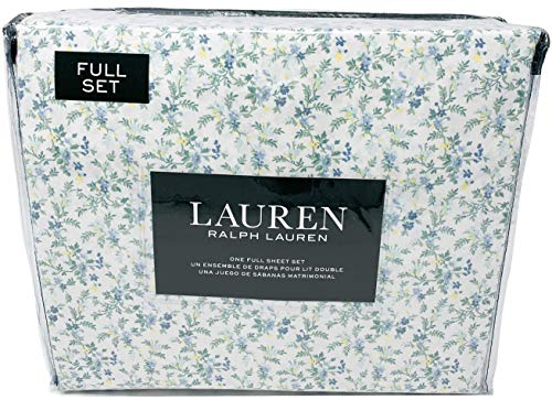 Lauren Ralph 4 Piece Sheet Set in French Country Cottage Blue Floral 100% Cotton Extra Deep Pocket Sheet Set (Full)