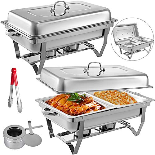 Mophorn 2 Packs Stainless Steel Chafing Dishes 2 Half Size Pans 8 Quart Rectangular Chafer Complete Set