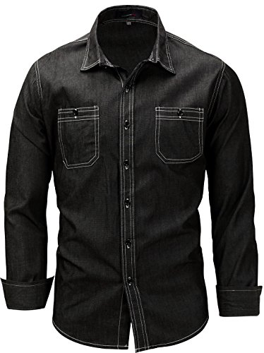 HULANG Mens Vintage Long Sleeve Button-Down Shirt In Washed Denim With Pockets (Large Plus, 114Black)