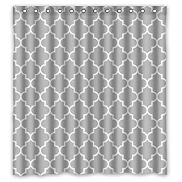 Lawrence Eco Friendly Grey Moroccan Tile Quatrefoil Pattern Printed Fabric Shower  Curtain With Hooks Polyester Waterproof Bathroom Curtains 66x72 Inch: ...