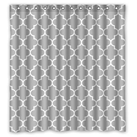 Lawrence Eco Friendly Grey Moroccan Tile Quatrefoil Pattern Printed ...