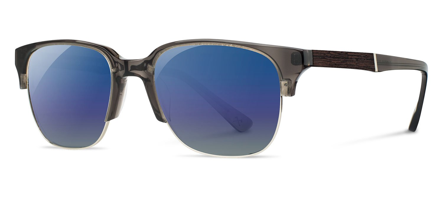 Shwood - Newport 52mm Acetate, Sustainability Meets Style, Charcoal/Elm Burl, Blue Flash Polarized Lenses by Shwood