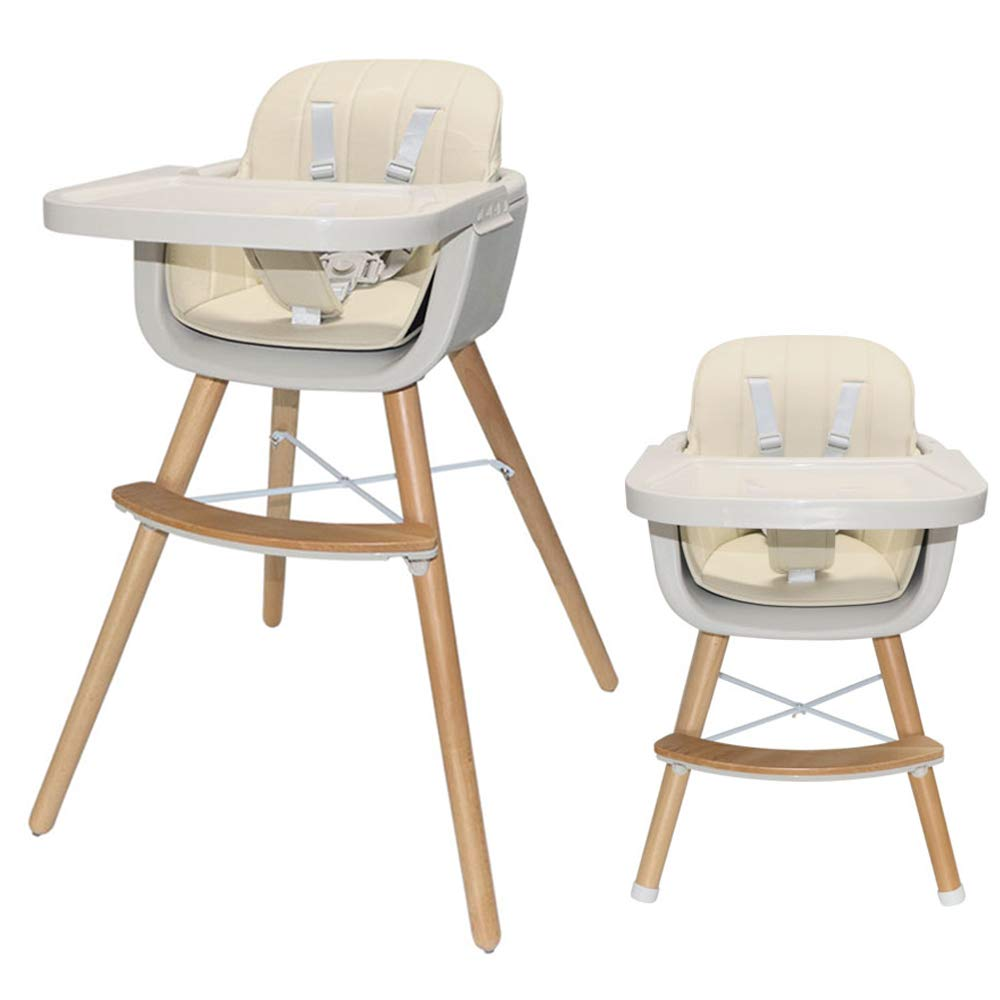 Asunflower Wood High Chair Toddlers 3 in 1 Convertible Modern Baby Highchair Solution for Babies and Infants with Cushion by Asunflower