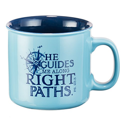 Mug - He Guides Me Along Right Paths Compass, Blue