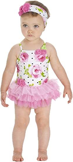 inhzoy Baby Girls One-Piece Polka Dots Romper Swimwear Skirted Swimsuit Beach Bathing Suit