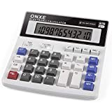 Calculator, ONXE Standard Function Scientific Electronics Desktop Calculators, Dual Power, Big Button 12 Digit Large LCD Display, Handheld for Daily and Basic Office