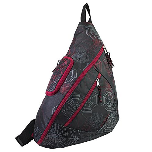 Sling Backpack Spider Web Print Multi Functional Zippered