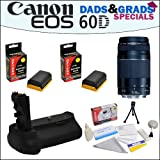 Dads&Grads Special! Canon EF 75-300mm f/4-5.6 III Telephoto Zoom Lens and Battery Pack Grip With 2 Opteka LP-E6 2400mAh Ultra High Capacity Li-ion for Canon EOS 60D Digital SLR Camera