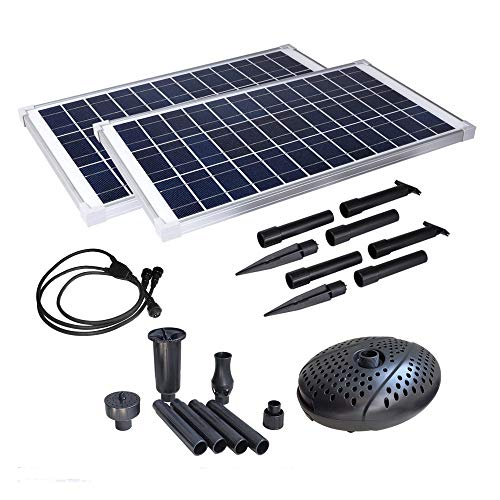 MNP SF70 Twin Panel 70W Max 898 GPH Powerful Solar Submersible Pump Kit for Fountain or Waterfall/Filtration. Complete kit ready to run in five minutes out of the box. High tech. features.