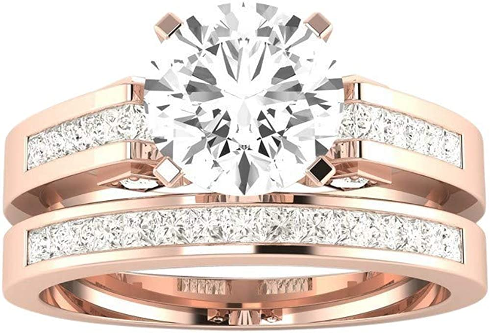 1.75 Ctw 14K White Gold Channel Set Princess Bridal Set Wedding Band and Matching IGI Certified Round Diamond Engagement Ring (1 Ct Center J-K Color SI1-SI2 Clarity)
