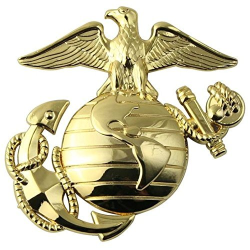 Marine Corps Eagle Globe Anchor (U.S. Marine Corps EGA Gold Metal Auto Emblem)