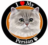''I Love My Persian Cat'' Car Magnet With Realistic Looking Persian Cat Photograph In The Center Covered In UV Gloss For Weather and Fading Protection Circle Shaped Magnet Measures 5.25 Inches Diameter