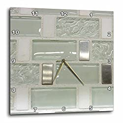 3dRose Image of Clear Glass and Metal Rectangle Tiles - Wall Clock, 15 by 15-Inch (DPP_223494_3)