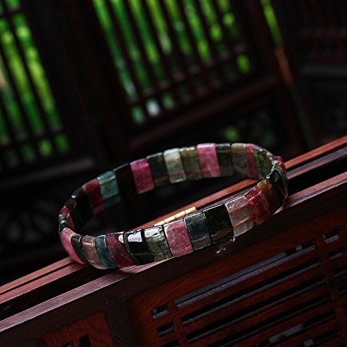 Rectangle Beads Stretch Bracelet (100% Natural Brazil Colorful Tourmaline Rectangle Beads Stretch Bracelet)