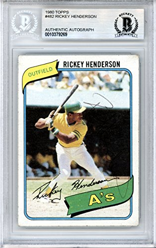 Rickey Henderson Autographed 1980 Topps Rookie Card #482 Oakland A's Vintage Beckett BAS #10379269