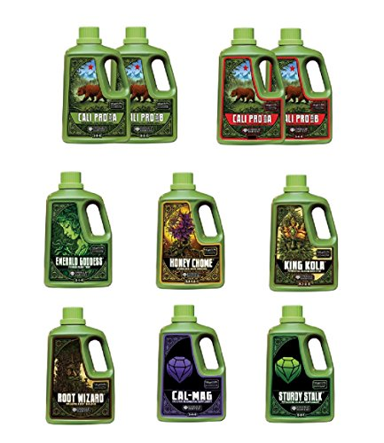 Emerald Harvest Nutrients 2-part Combo Package Kit - 1 Gallon Size (Cali Pro Grow A&B, Cali Pro Bloom A&B, Root Wizard, Honey Chome, King Kola, Emerald Goddess, Cal-Mag & Sturdy - Ab Package Premium