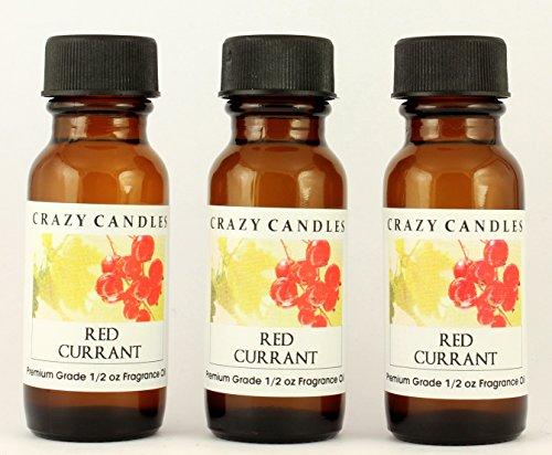 Red Currant 3 Bottles 1/2 Fl Oz Each (15ml) Premium Grade Scented Fragrance Oil By Crazy Candles (Unique and Powerful Berry (Currant Candle Scent)