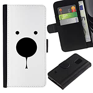 KingStore / Leather Etui en cuir / Samsung Galaxy S5 V SM-G900 / Oso polar minimalista Blanco Negro lindo