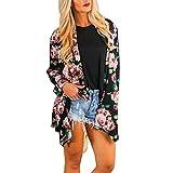 Loyalt Cardigans For Women Long Sleeve, Women Boho Print Floral Loose Shawl Kimono Cardigan Top Cover up Blouse (XL, Black)