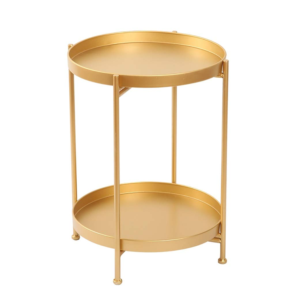 gold Round Iron Double Layer Small Side Table,Snack Table,Bedside Table,Coffee Table,Telephone Table for Home Living Room (color   gold)