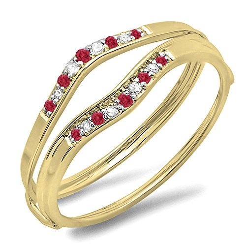 Dazzlingrock Collection 10K Yellow Gold Round Ruby & White Diamond Ladies Anniversary Enhancer Guard Wedding Band (Size 7.5) -