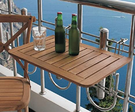 Tavolino da balcone in legno di teak, dimensioni: 60 x 40 cm: Amazon ...