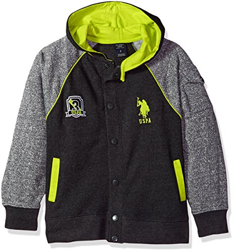 Fleece Button (U.S. Polo Assn. Big Boys' Long Sleeve Button up Fleece Hoodie, Dark Heather Gray, 14/16)
