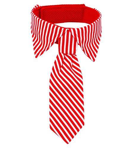 Amajiji Pets Bowtie, Formal Stripe Adjustable Pet Bow Tie and Collar for Only Large Dogs (Red)