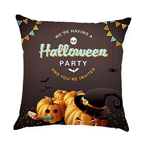 BIBITIME Halloween Throw Pillow Cushion Cover Case WE