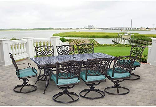 Hanover Traditions 9-Piece Cast Aluminum Outdoor Patio Dining Set