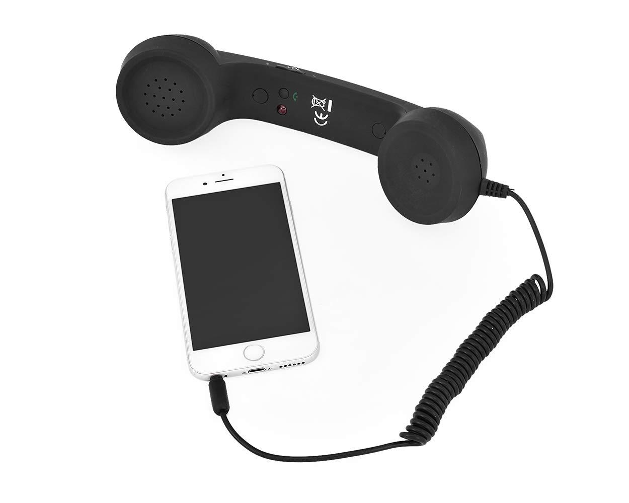 Ricevitore mobile del telefono mobile di DSstyles Retro dispositivo portatile del telecomando del volume 3.5mm per il telefono mobile di iPhone e Android nero
