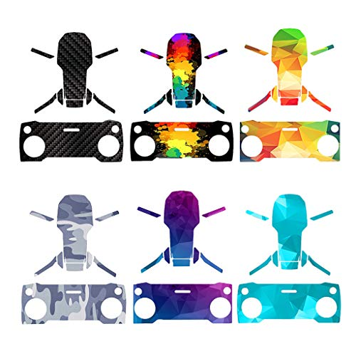 6 Sets Waterproof PVC Graffiti Camouflage Stickers Drone and Remote Controller Skin Stickers Cover Protector for DJI Mavic Mini (6PCS Stickers)