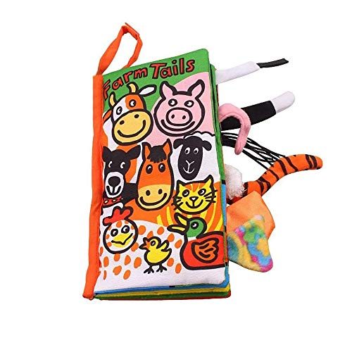 YOUDirect Soft Cloth Books - Soft Baby Funny Animal Tails Cloth Book, Early Learning Education Toddler Books Toy, Best Gift for Kids Babies (Farm Tails)