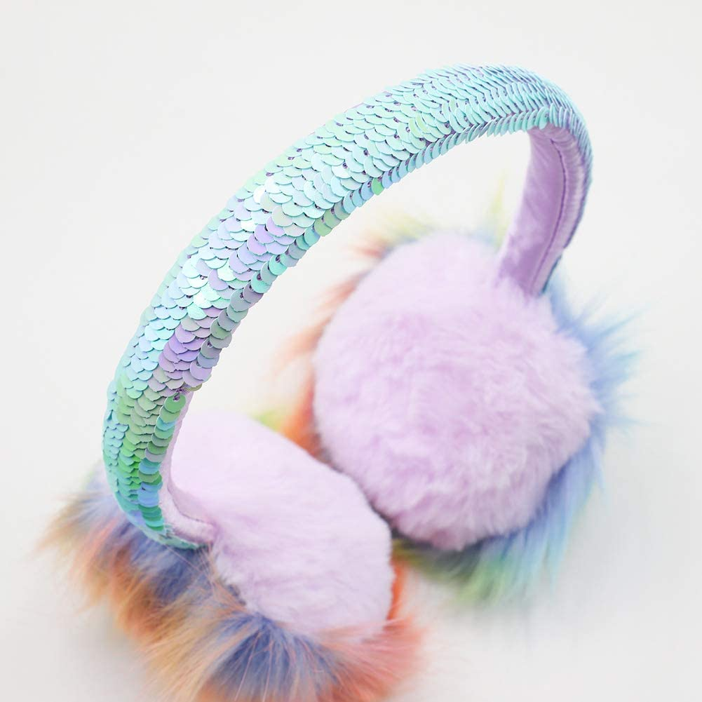 Kids Cute Fluffy Pom Poms Sequin Earmuffs Winter Warm Ear Warmers For Womens Girls