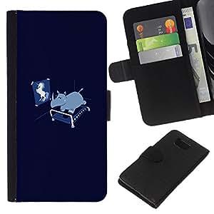 LECELL--Cuero de la tarjeta la carpeta del tirón Smartphone Slots Protección Holder For Samsung ALPHA G850 -- Divertido Unicorn Rhino --