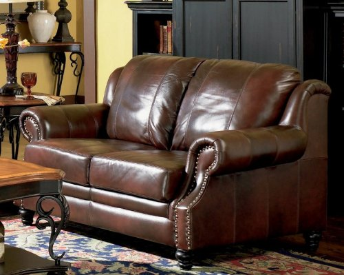 Classic Tri Tone Leather Loveseat