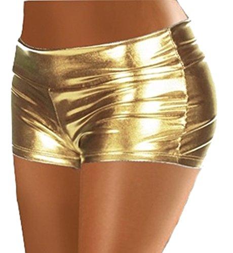 ? Pantaloncino short sexy hot metallico pvc elasticizzato tg unica colore oro