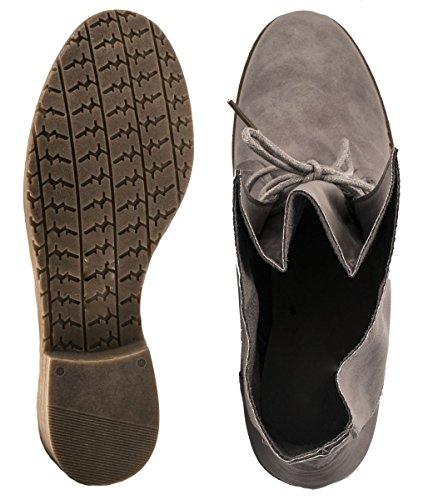Elara Damen Stiefelette | Biker Boots | Trendy Lederoptik Grau 3