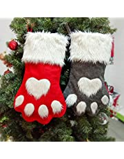 Christmas Stockings - 2Pcs Large Pet Paw Pattern Hanging Stockings for Christmas Decoration