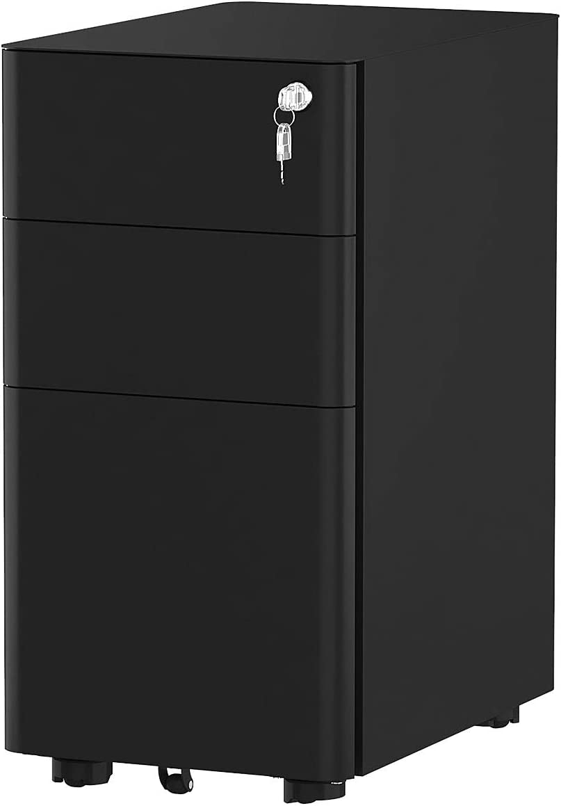 YITAHOME 3-Drawer Metal Filing Cabinet Office Drawers with Keys, Compact Slim Portable File Cabinet, Pre-Built Office Storage Cabinet for A4/Letter/Legal (Black)